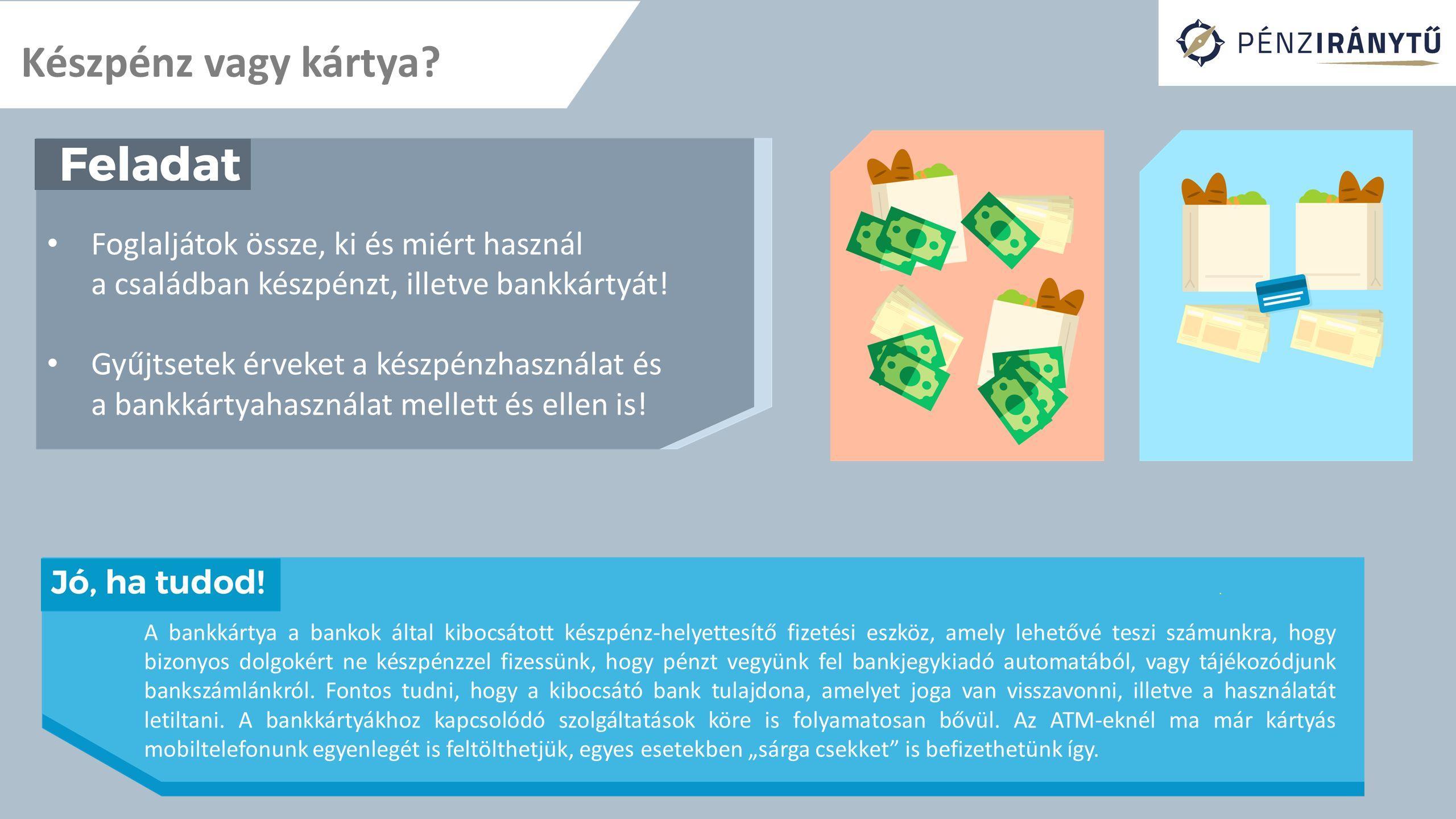 Készpénz vagy kártya Foglaljátok össze, ki és miért használ a családban készpénzt, illetve bankkártyát!