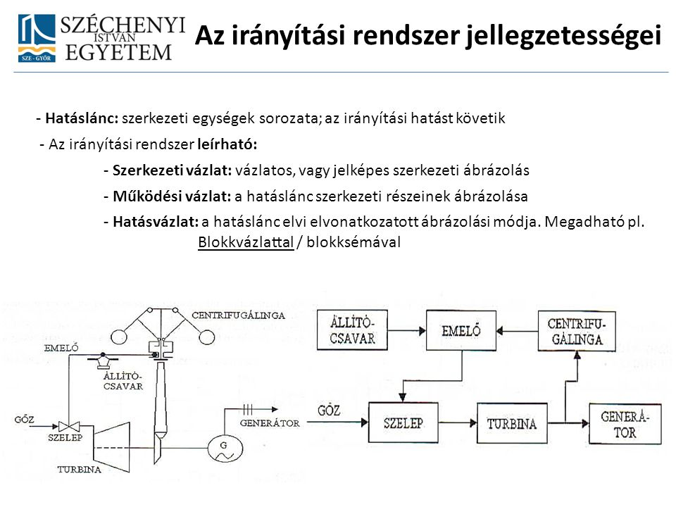 Az irányítási rendszer jellegzetességei