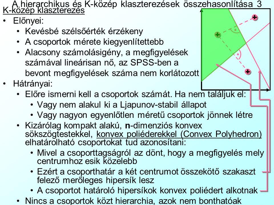 A hierarchikus és K-közép klaszterezések összehasonlítása 3