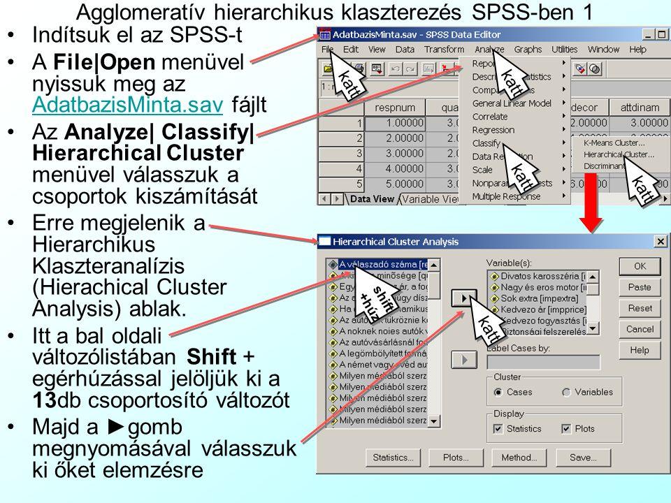 Agglomeratív hierarchikus klaszterezés SPSS-ben 1