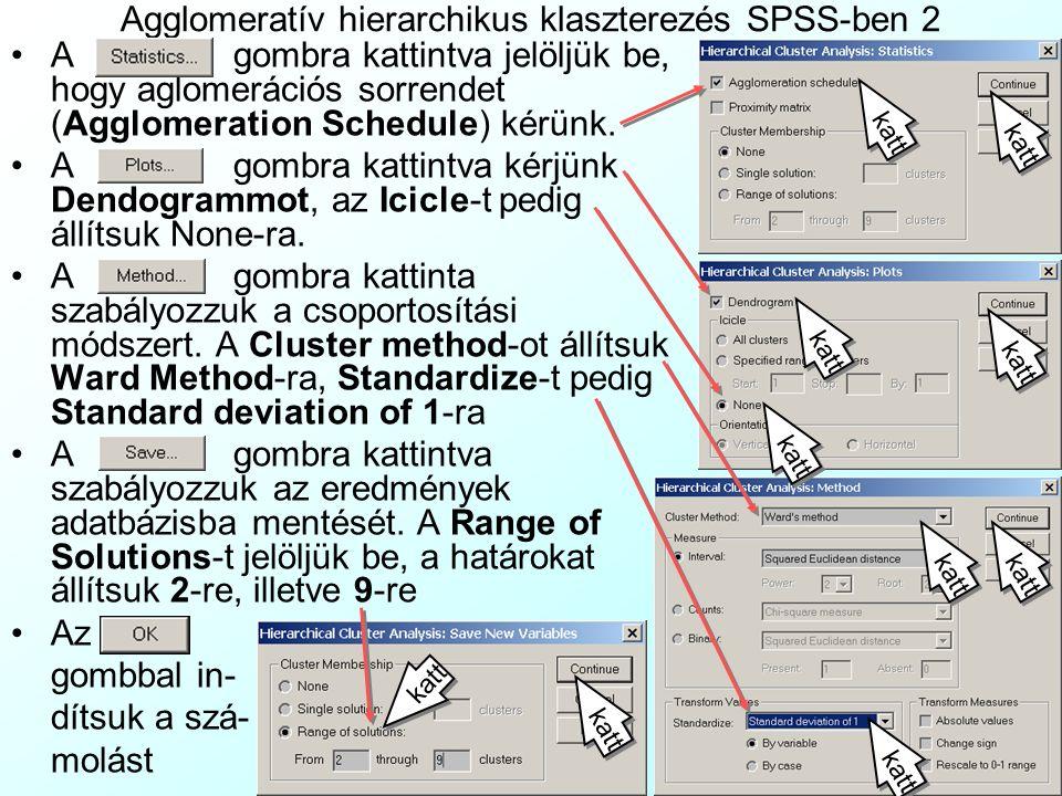 Agglomeratív hierarchikus klaszterezés SPSS-ben 2