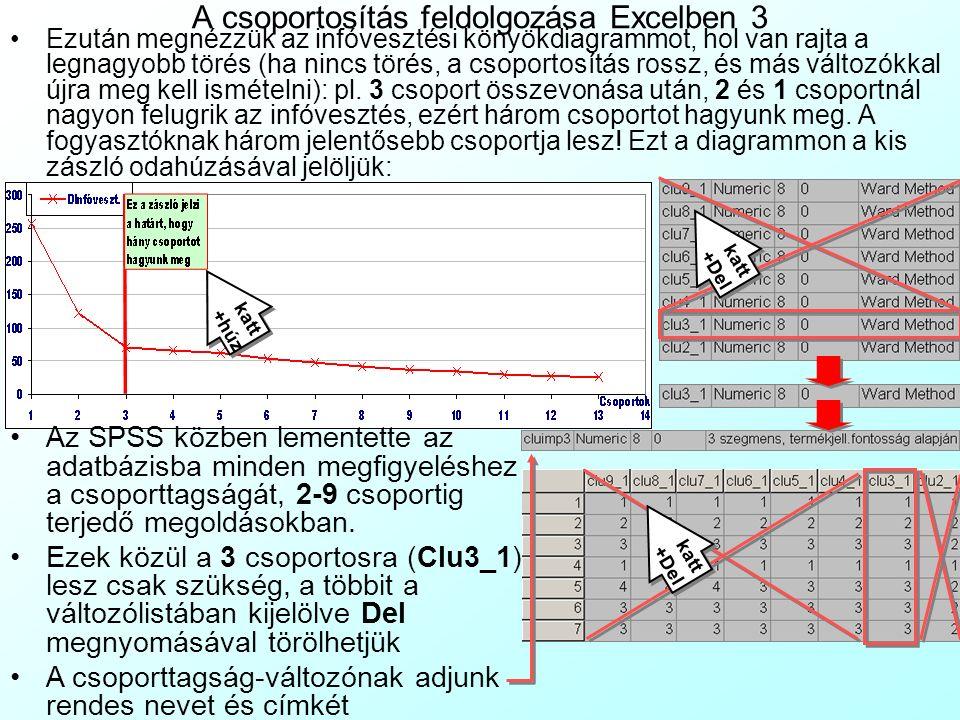 A csoportosítás feldolgozása Excelben 3