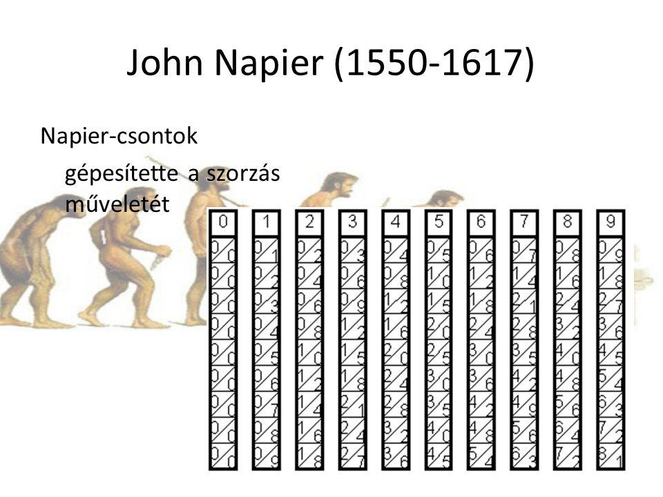 John Napier (1550-1617) Napier-csontok gépesítette a szorzás műveletét