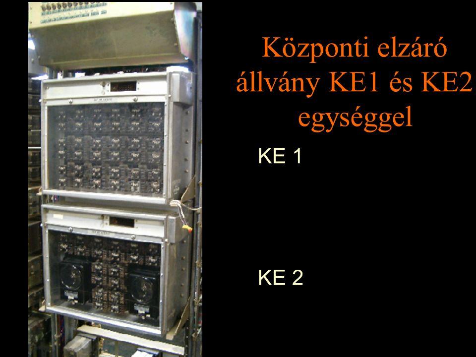 Központi elzáró állvány KE1 és KE2 egységgel