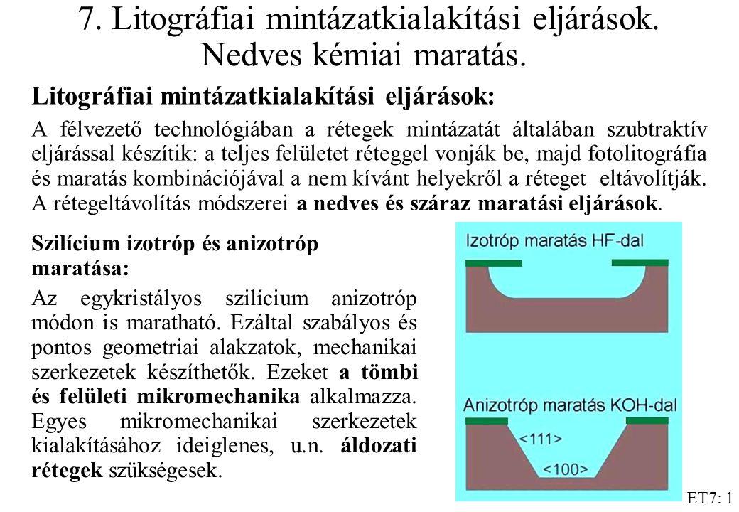 7. Litográfiai mintázatkialakítási eljárások. Nedves kémiai maratás.