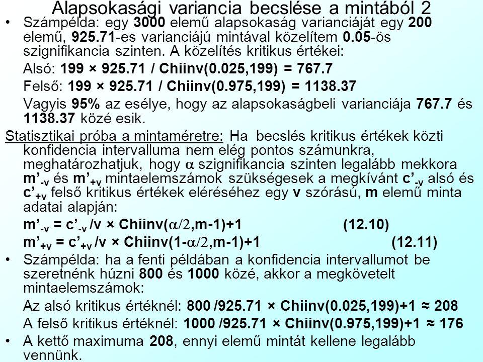 Alapsokasági variancia becslése a mintából 2