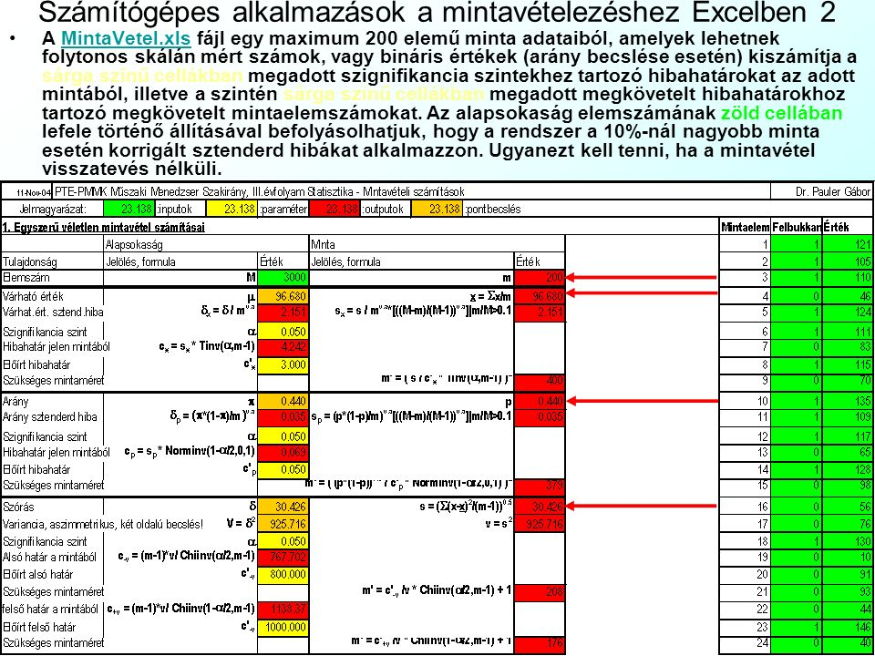Számítógépes alkalmazások a mintavételezéshez Excelben 2