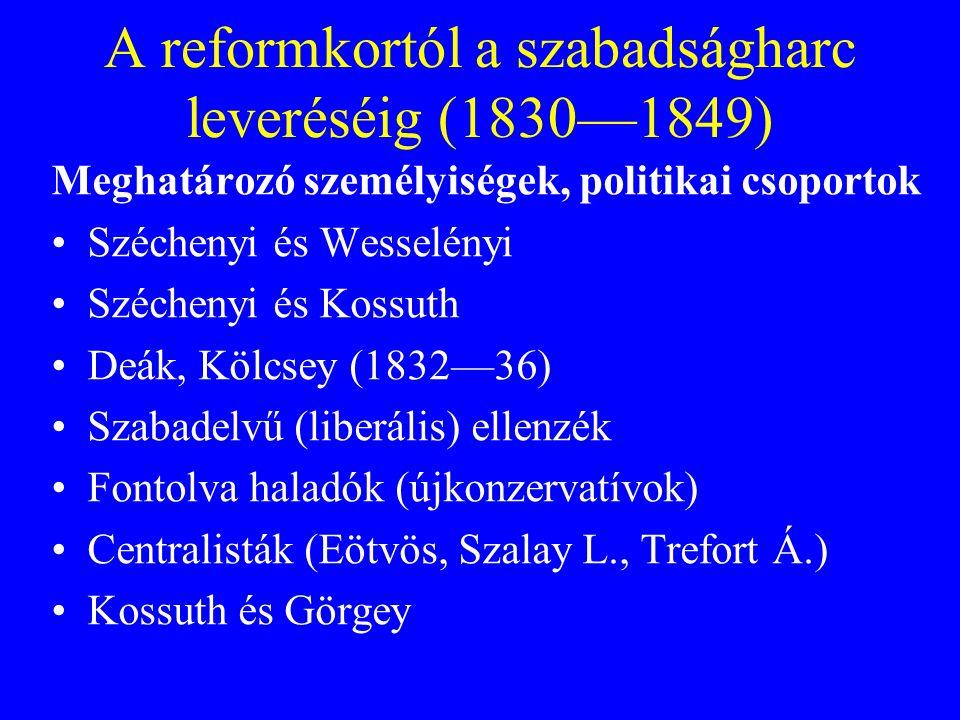A reformkortól a szabadságharc leveréséig (1830—1849)