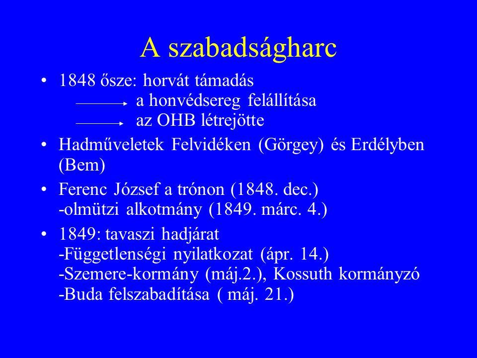 A szabadságharc 1848 ősze: horvát támadás a honvédsereg felállítása az OHB létrejötte. Hadműveletek Felvidéken (Görgey) és Erdélyben (Bem)