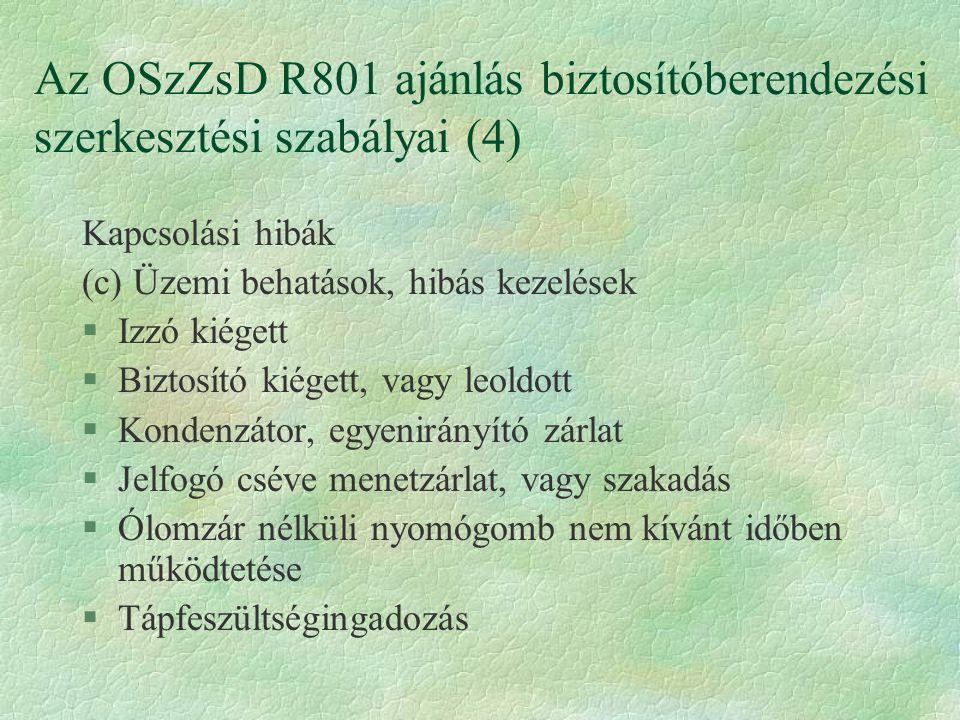Az OSzZsD R801 ajánlás biztosítóberendezési szerkesztési szabályai (4)