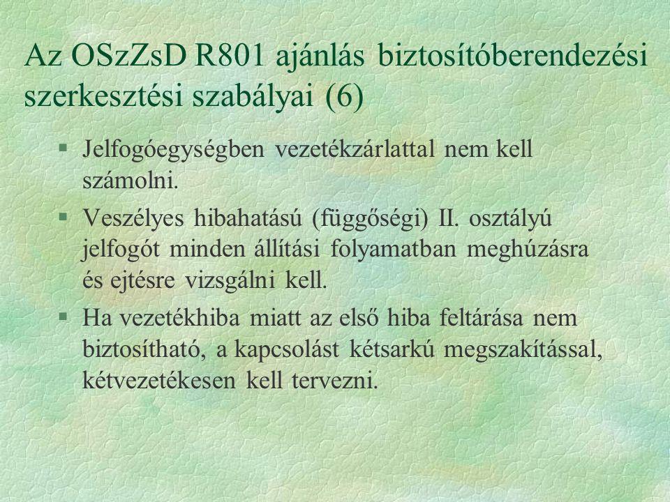 Az OSzZsD R801 ajánlás biztosítóberendezési szerkesztési szabályai (6)