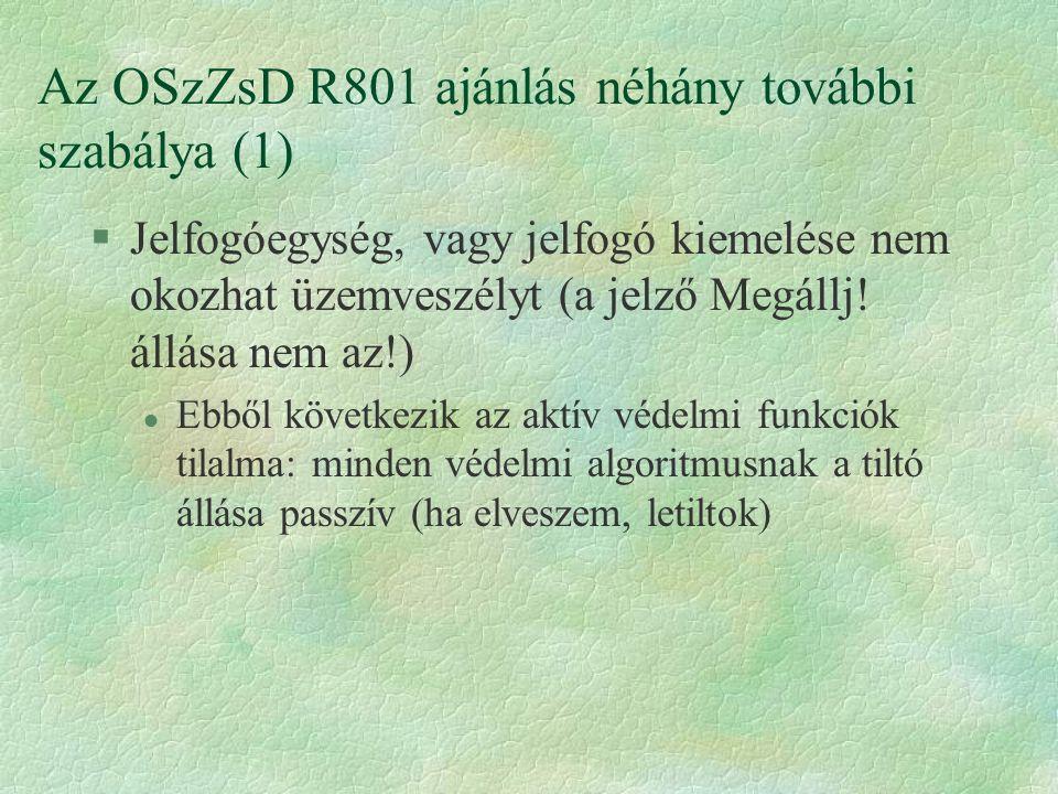 Az OSzZsD R801 ajánlás néhány további szabálya (1)