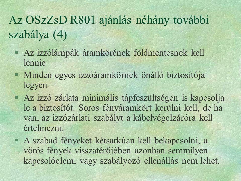 Az OSzZsD R801 ajánlás néhány további szabálya (4)