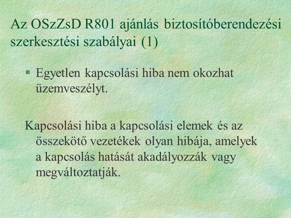 Az OSzZsD R801 ajánlás biztosítóberendezési szerkesztési szabályai (1)