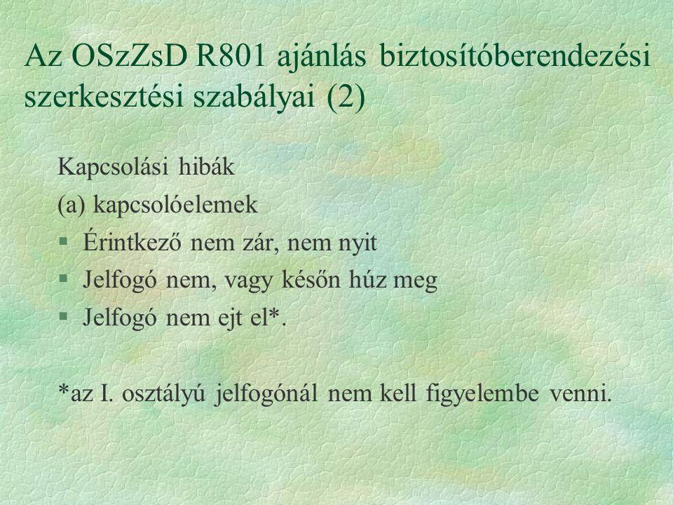 Az OSzZsD R801 ajánlás biztosítóberendezési szerkesztési szabályai (2)