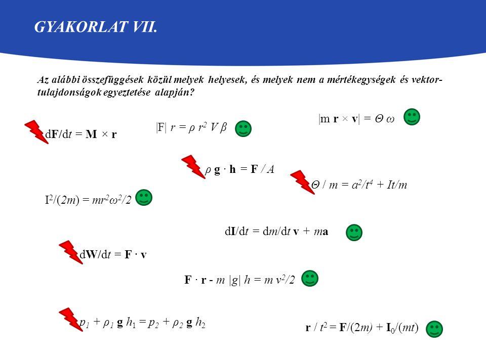 Gyakorlat VII. |m r × v| = Θ ω |F| r = ρ r2 V β dF/dt = M × r