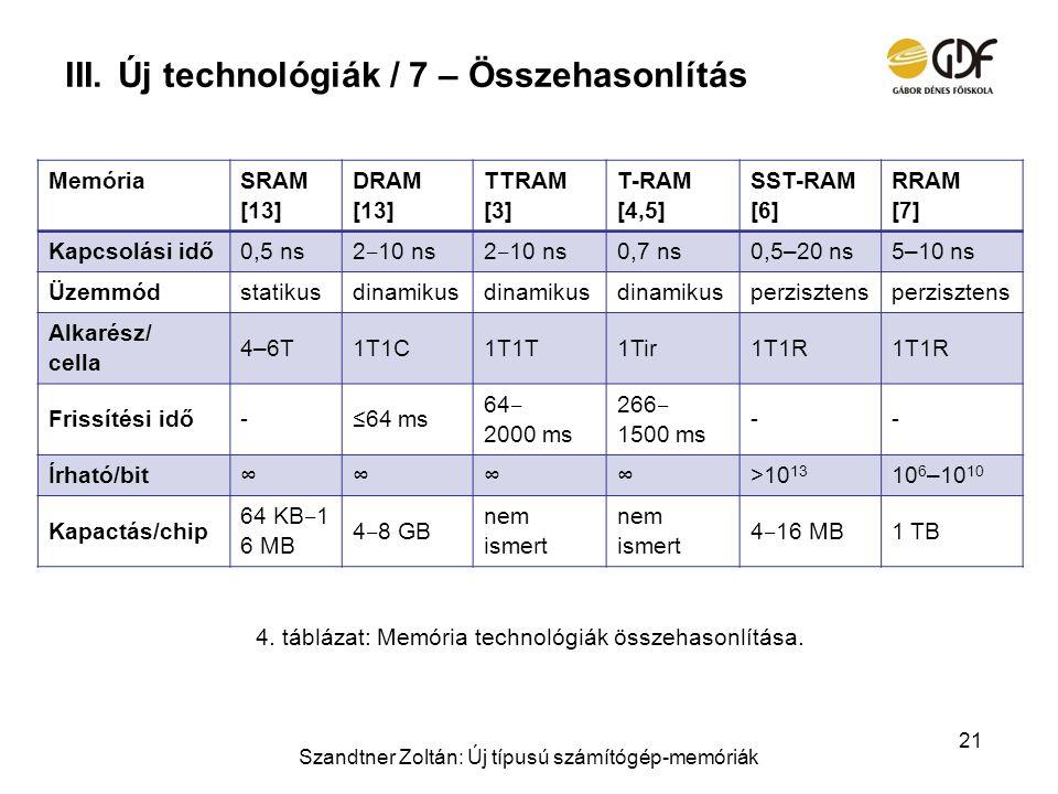 Új technológiák / 7 – Összehasonlítás