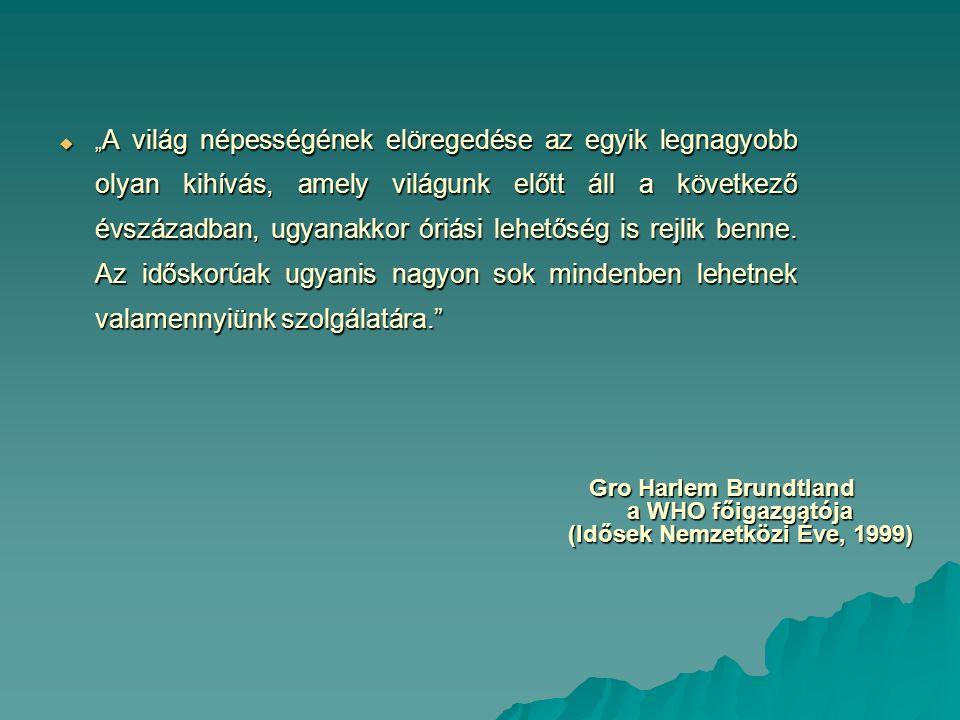 Gro Harlem Brundtland a WHO főigazgatója (Idősek Nemzetközi Éve, 1999)