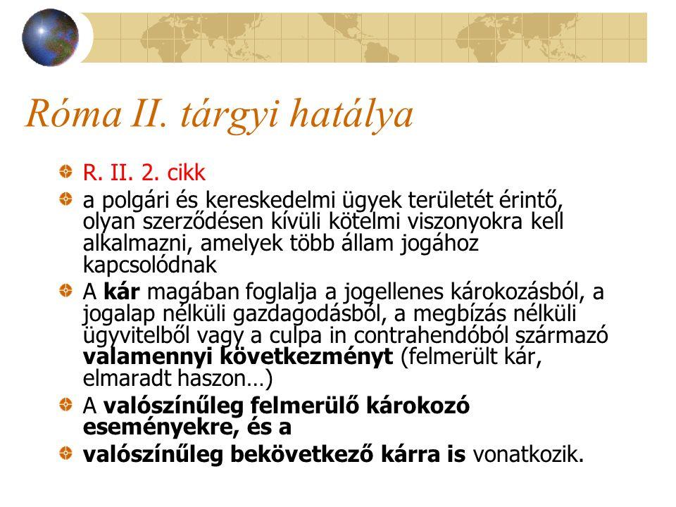 Róma II. tárgyi hatálya R. II. 2. cikk