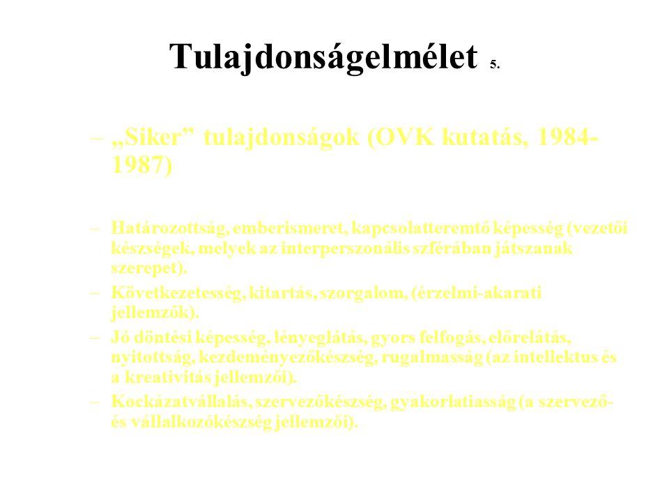 """Tulajdonságelmélet 5. """"Siker tulajdonságok (OVK kutatás, 1984-1987)"""