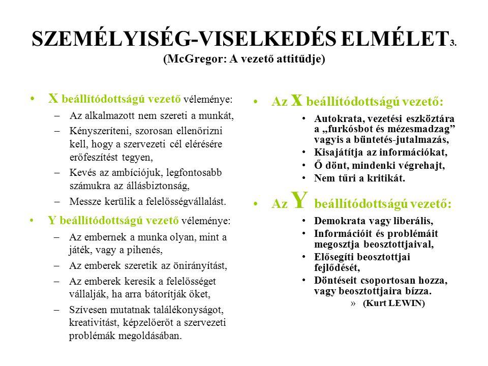 SZEMÉLYISÉG-VISELKEDÉS ELMÉLET3. (McGregor: A vezető attitűdje)