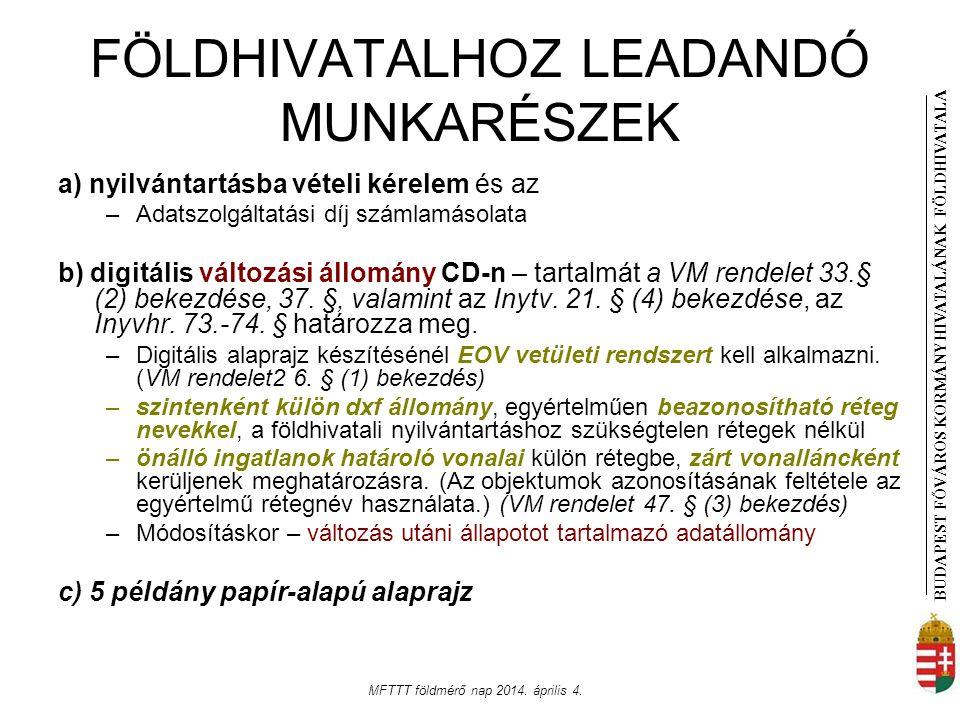 FÖLDHIVATALHOZ LEADANDÓ MUNKARÉSZEK