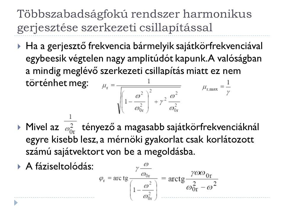 Többszabadságfokú rendszer harmonikus gerjesztése szerkezeti csillapítással