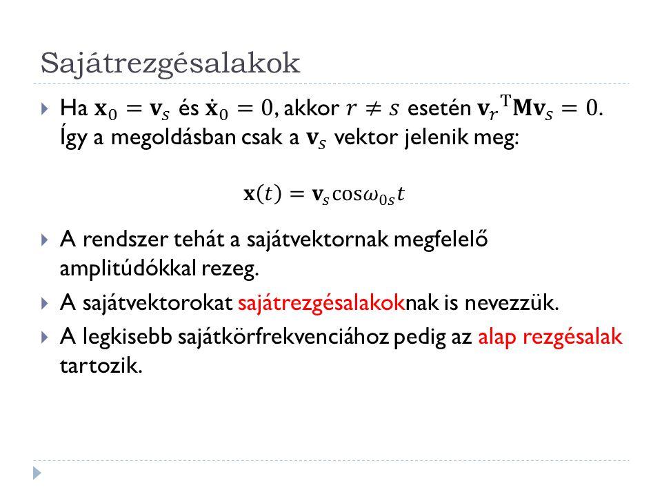 Sajátrezgésalakok Ha 𝐱 0 = 𝐯 𝑠 és 𝐱 0 =0, akkor 𝑟≠𝑠 esetén 𝐯 𝑟 T 𝐌 𝐯 𝑠 =0. Így a megoldásban csak a 𝐯 𝑠 vektor jelenik meg: