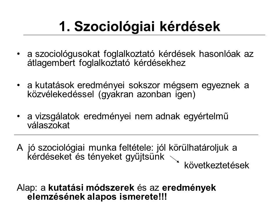 1. Szociológiai kérdések