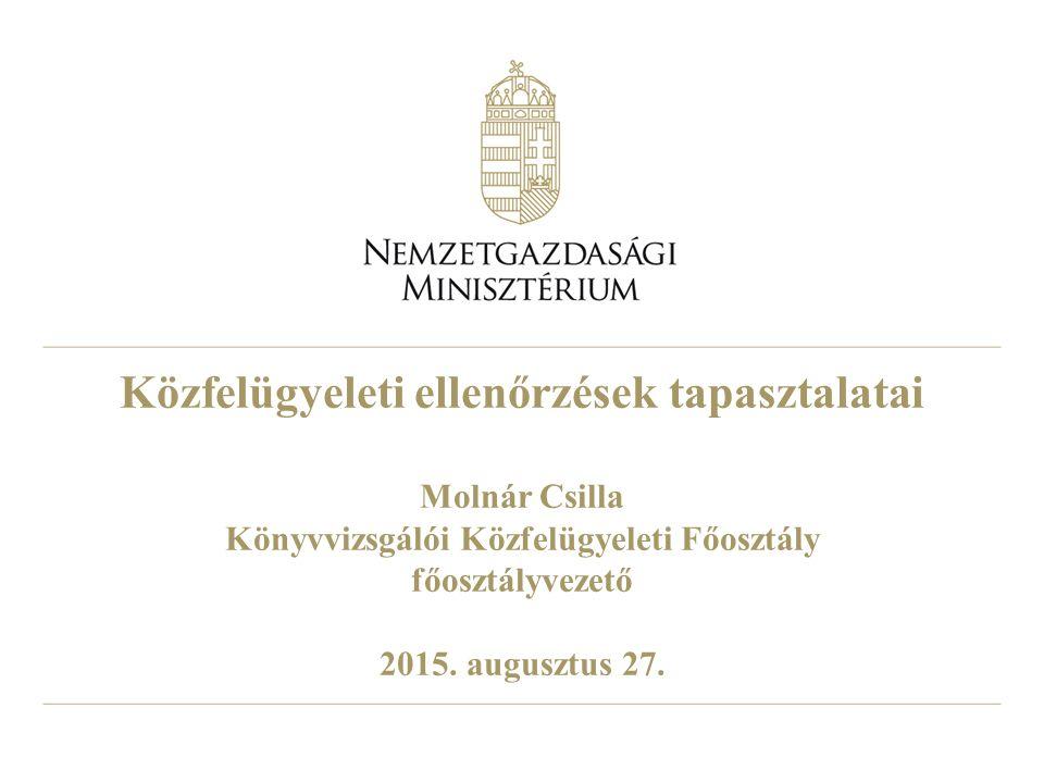 Közfelügyeleti ellenőrzések tapasztalatai Molnár Csilla Könyvvizsgálói Közfelügyeleti Főosztály főosztályvezető 2015.