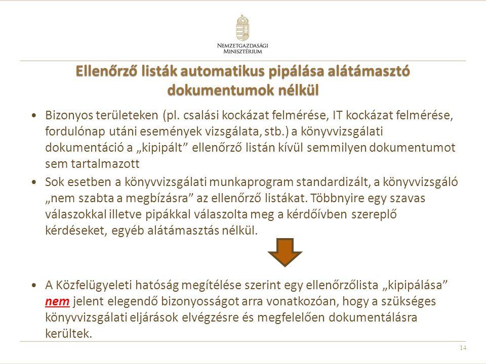 Ellenőrző listák automatikus pipálása alátámasztó dokumentumok nélkül