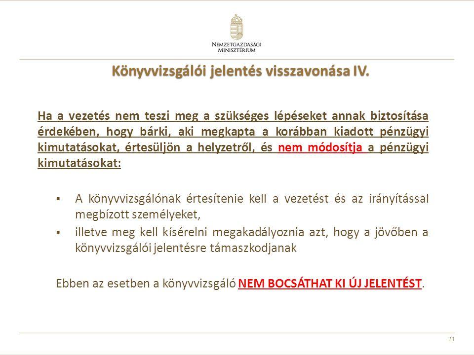 Könyvvizsgálói jelentés visszavonása IV.