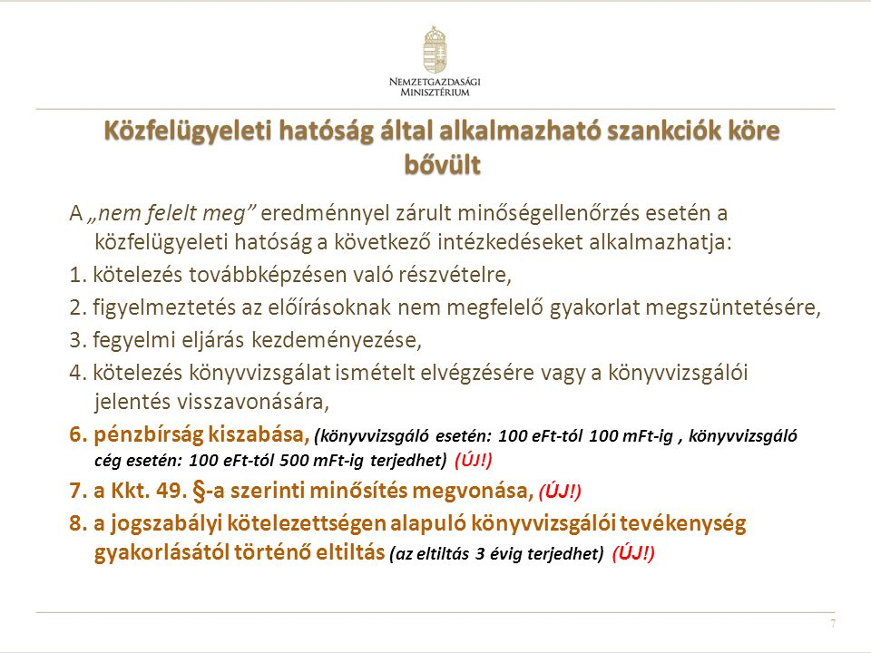 Közfelügyeleti hatóság által alkalmazható szankciók köre bővült