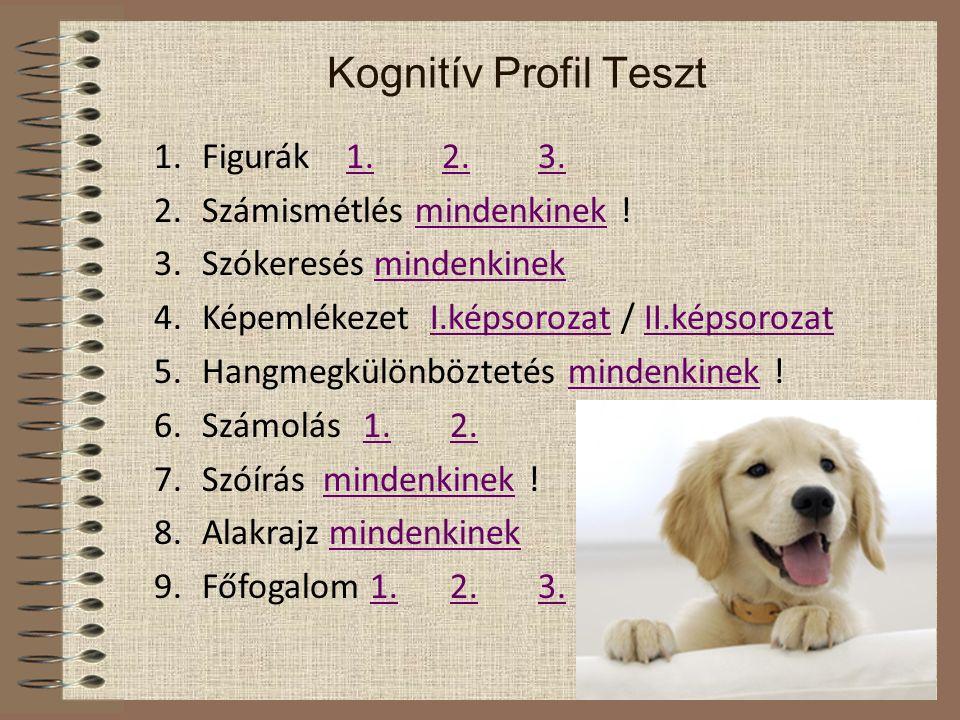 Kognitív Profil Teszt Figurák 1. 2. 3. Számismétlés mindenkinek !