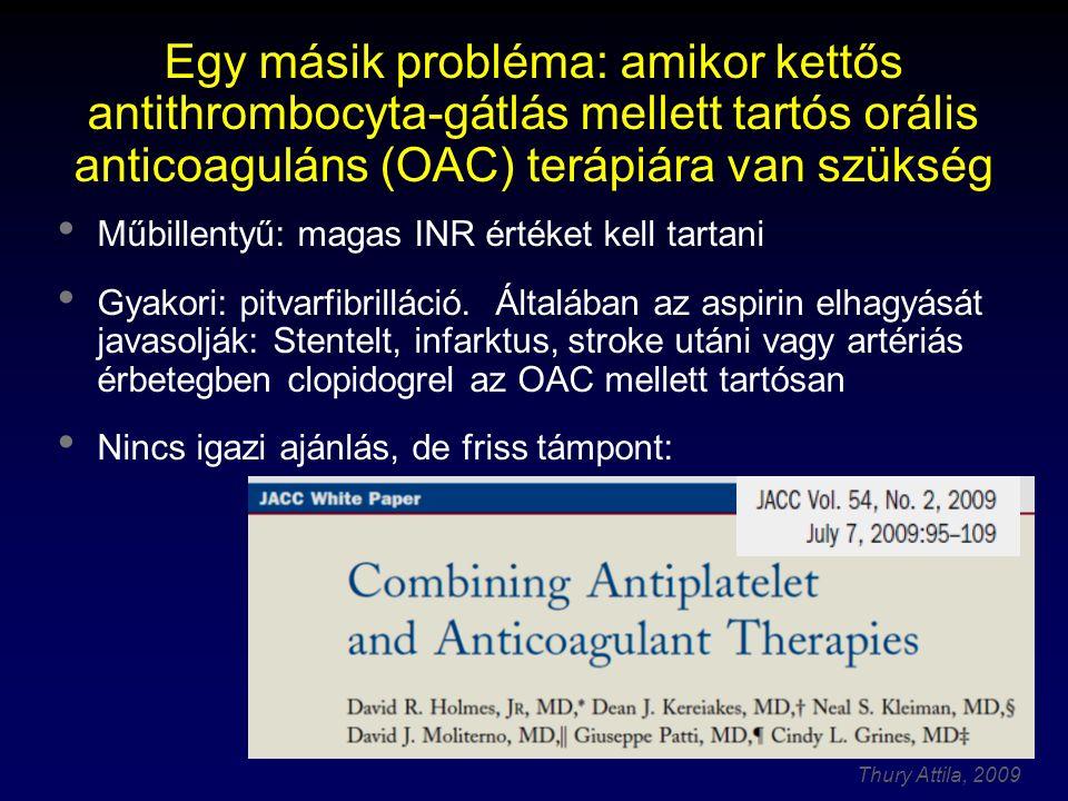 Egy másik probléma: amikor kettős antithrombocyta-gátlás mellett tartós orális anticoaguláns (OAC) terápiára van szükség
