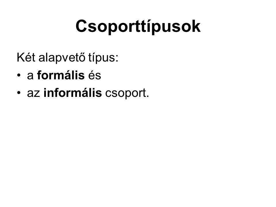 Csoporttípusok Két alapvető típus: a formális és