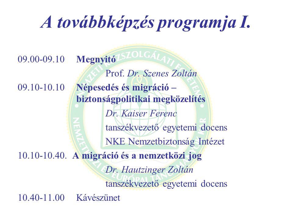 A továbbképzés programja I.