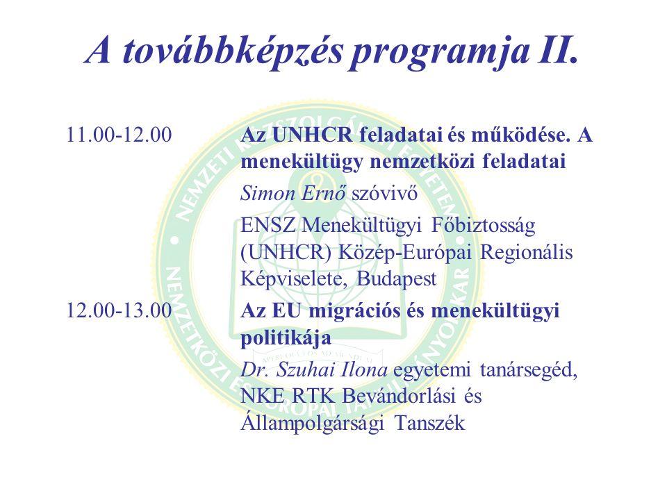 A továbbképzés programja II.