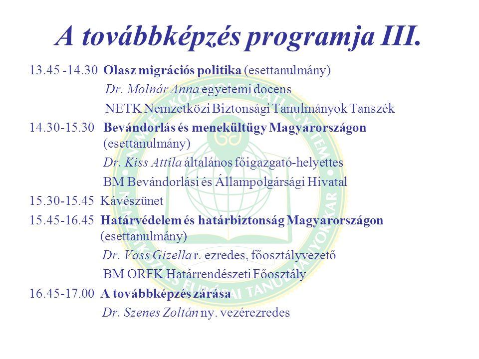 A továbbképzés programja III.