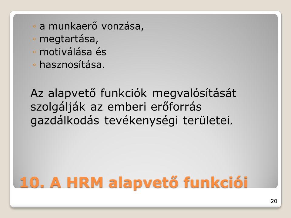 10. A HRM alapvető funkciói