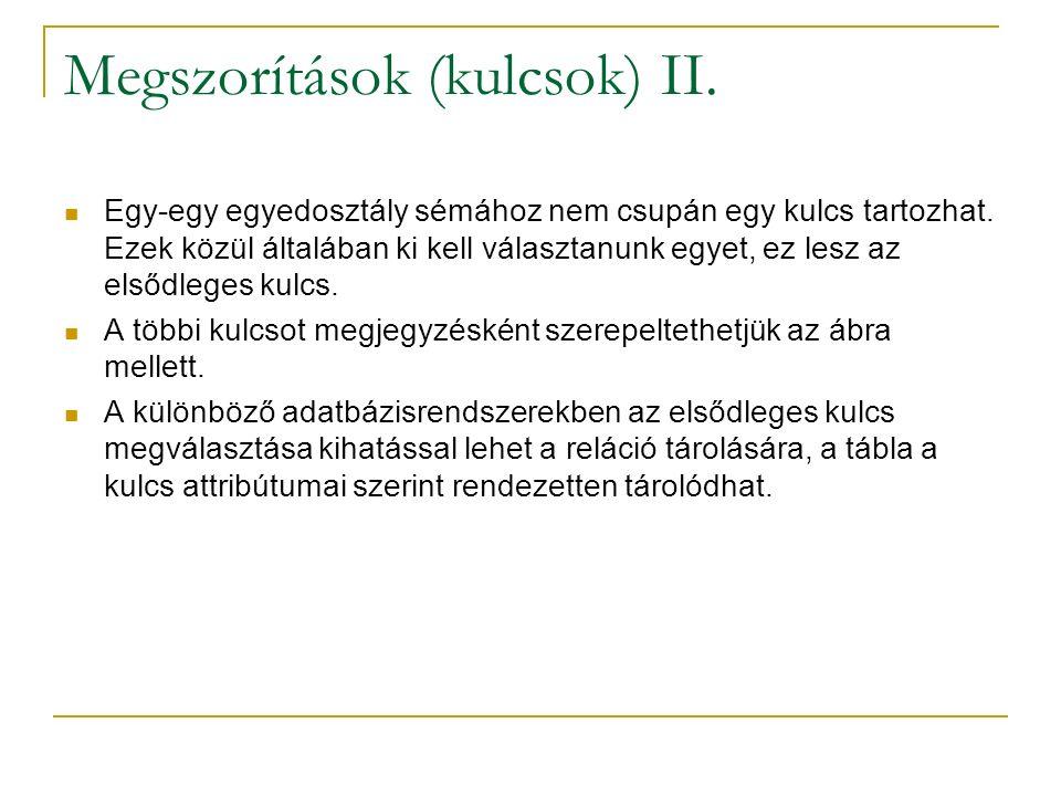 Megszorítások (kulcsok) II.