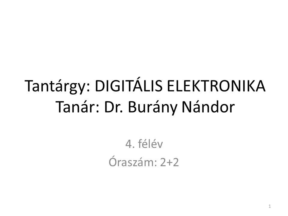 Tantárgy: DIGITÁLIS ELEKTRONIKA Tanár: Dr. Burány Nándor