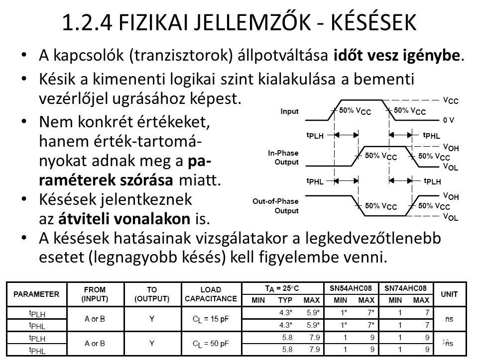 1.2.4 FIZIKAI JELLEMZŐK - KÉSÉSEK