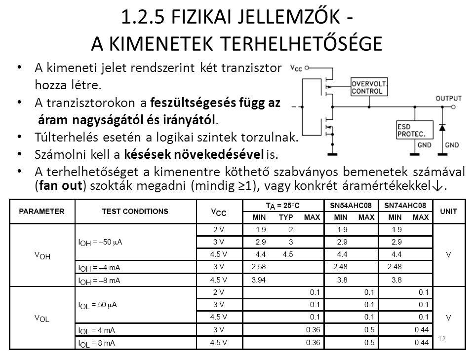 1.2.5 FIZIKAI JELLEMZŐK - A KIMENETEK TERHELHETŐSÉGE
