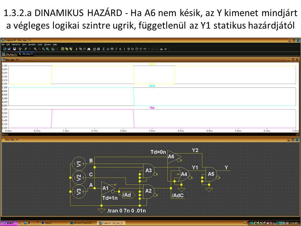 1.3.2.a DINAMIKUS HAZÁRD - Ha A6 nem késik, az Y kimenet mindjárt a végleges logikai szintre ugrik, függetlenül az Y1 statikus hazárdjától
