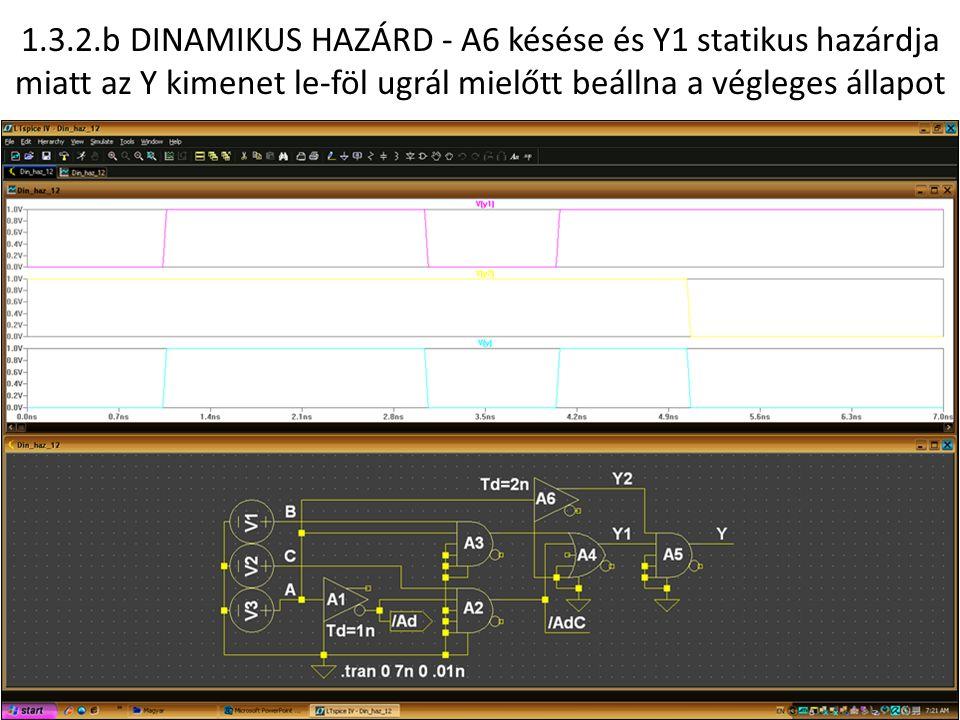 1.3.2.b DINAMIKUS HAZÁRD - A6 késése és Y1 statikus hazárdja miatt az Y kimenet le-föl ugrál mielőtt beállna a végleges állapot