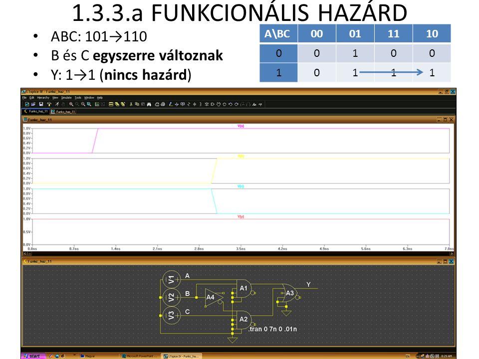 1.3.3.a FUNKCIONÁLIS HAZÁRD ABC: 101→110 B és C egyszerre változnak