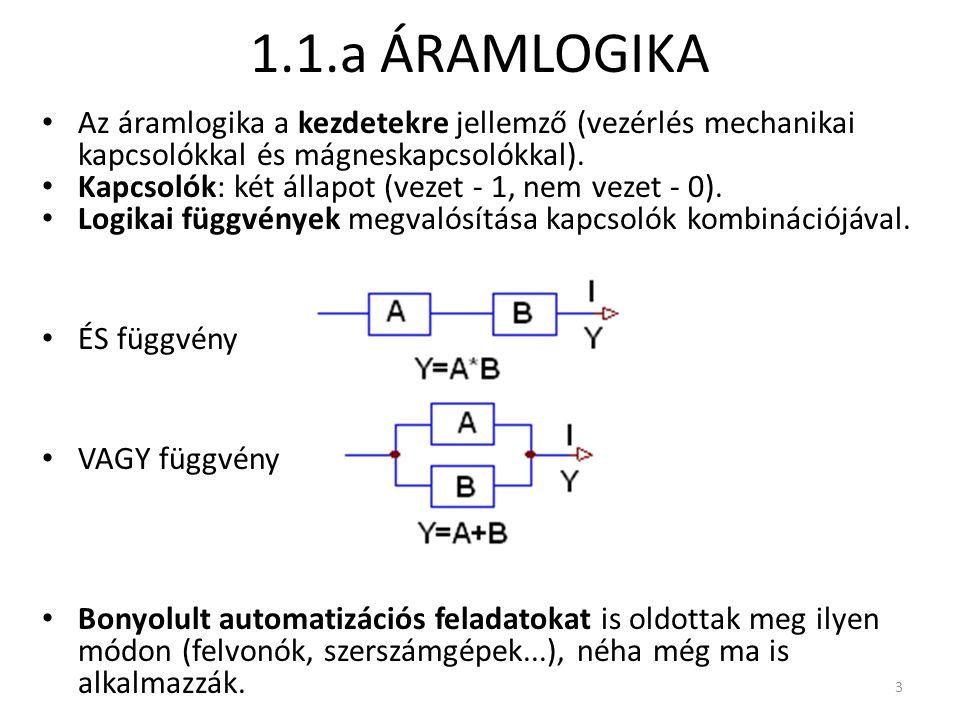 1.1.a ÁRAMLOGIKA Az áramlogika a kezdetekre jellemző (vezérlés mechanikai kapcsolókkal és mágneskapcsolókkal).