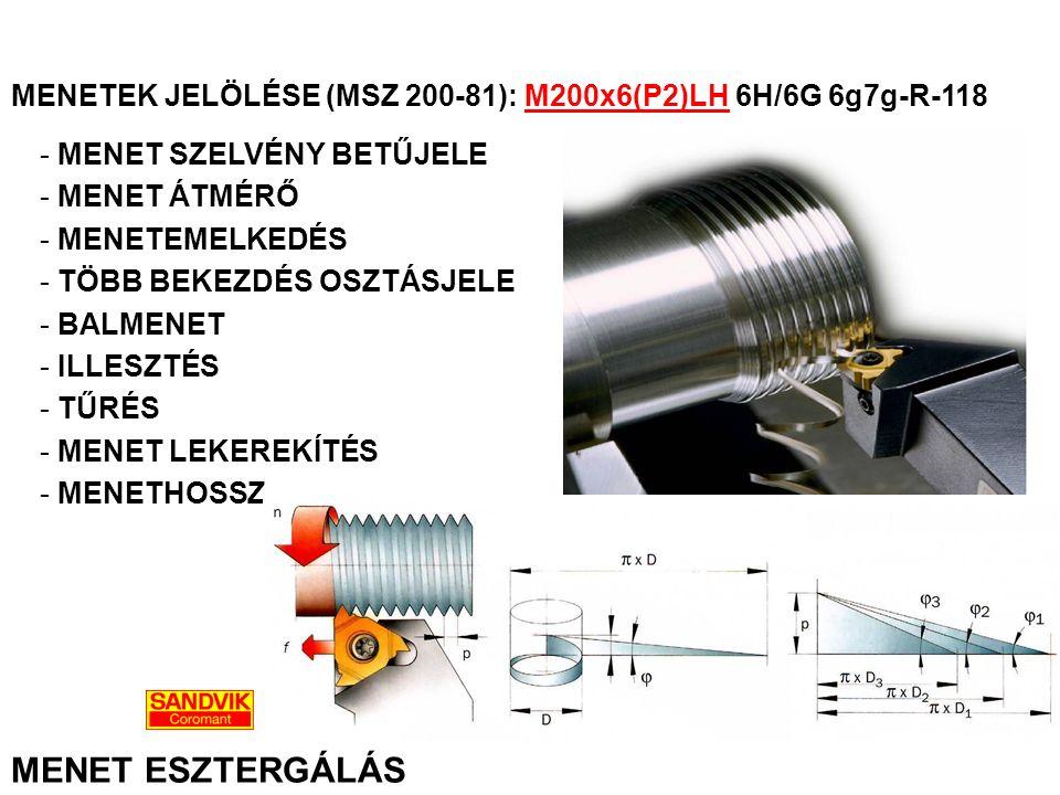 MENETEK JELÖLÉSE (MSZ 200-81): M200x6(P2)LH 6H/6G 6g7g-R-118