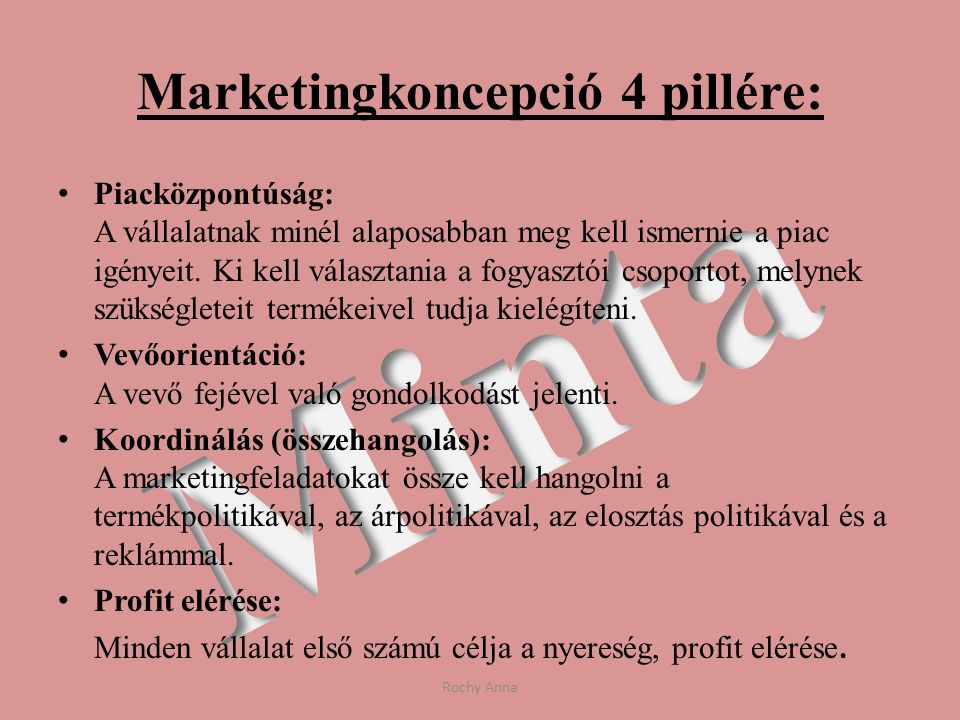 Marketingkoncepció 4 pillére: